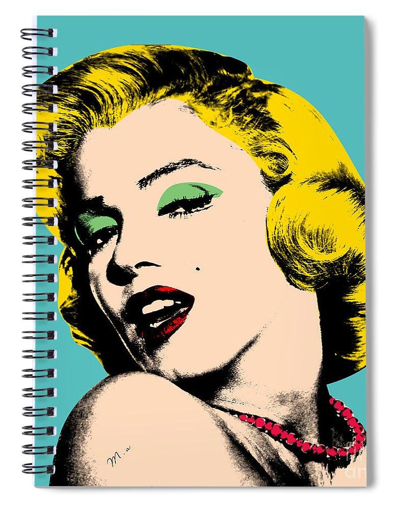 Pop Art Spiral Notebook featuring the digital art Andy Warhol by Mark Ashkenazi