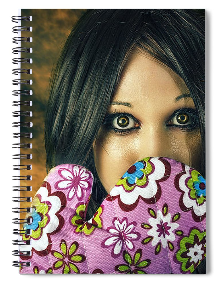 Cooking Spiral Notebook featuring the photograph Bad Cooking Woman Burning Down House by Jorgo Photography - Wall Art Gallery