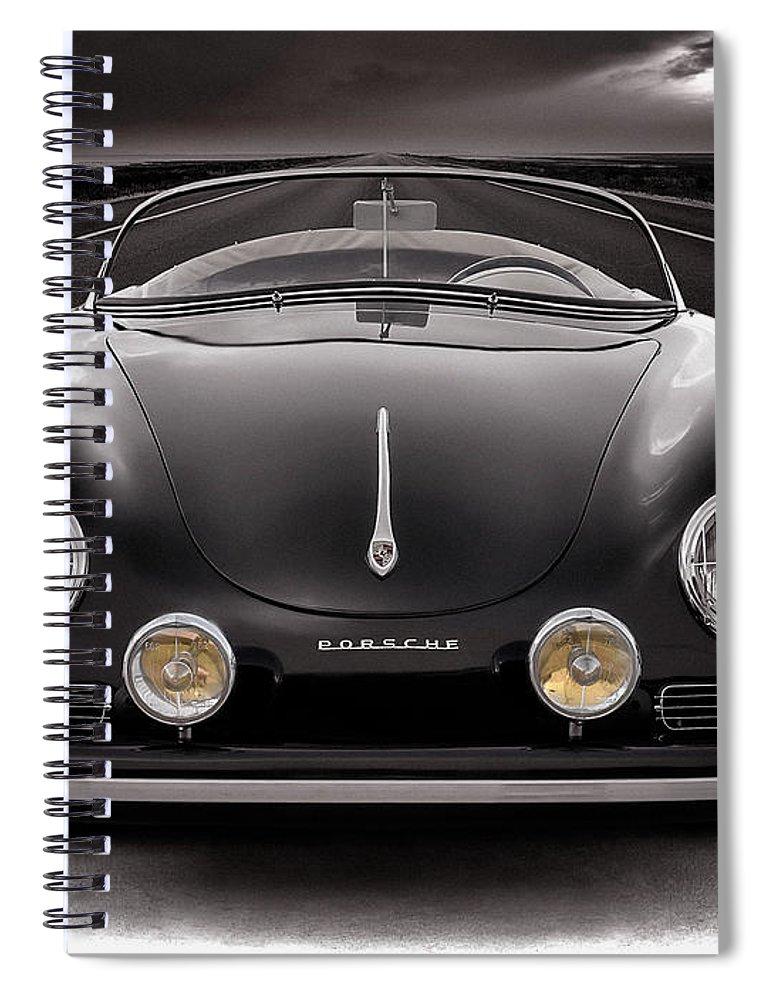 Porsche Spiral Notebook featuring the photograph Black Porsche Speedster by Douglas Pittman