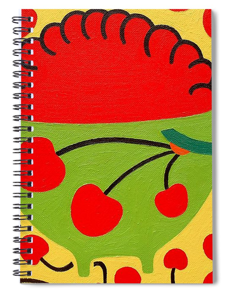 Bowl Of Cherries Spiral Notebook featuring the painting Bowl Of Cherries by Patrick J Murphy