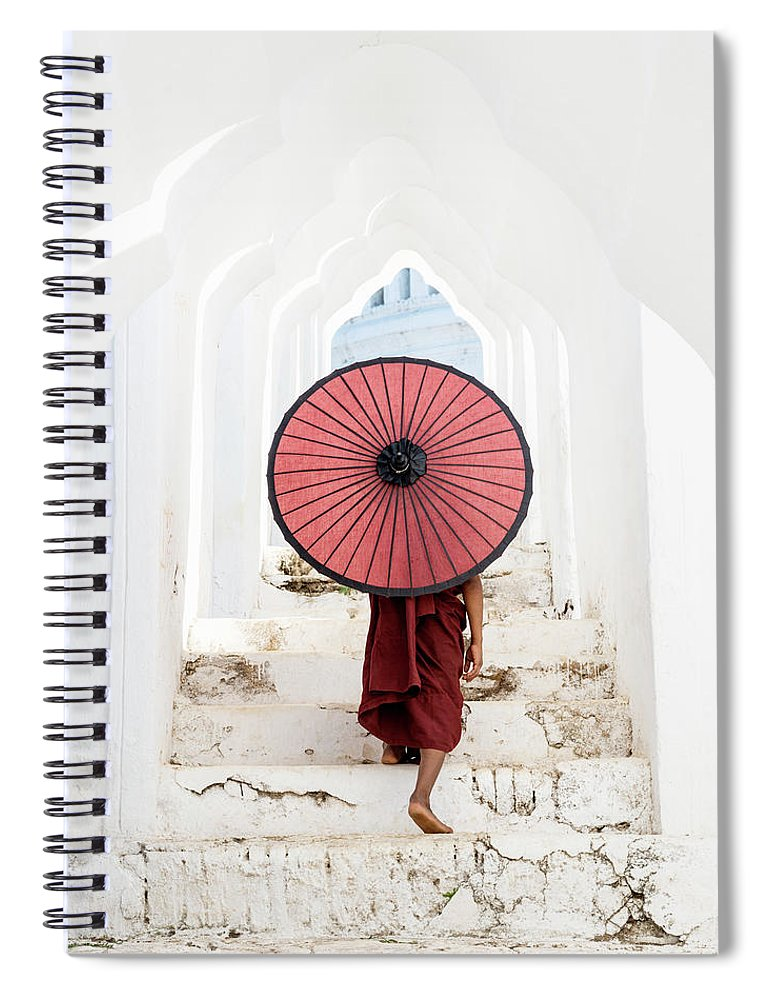 Steps Spiral Notebook featuring the photograph Buddhist Monk Walking Along Temple by Martin Puddy