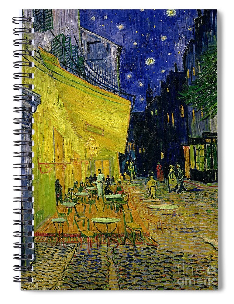 Cafe Terrace Spiral Notebook featuring the painting Cafe Terrace Arles by Vincent van Gogh