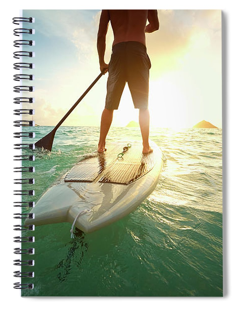 Tranquility Spiral Notebook featuring the photograph Caucasian Man On Paddle Board In Ocean by Colin Anderson Productions Pty Ltd