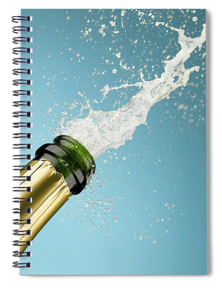 Celebration Spiral Notebook featuring the photograph Champagne Exploding From Bottle by Andy Roberts
