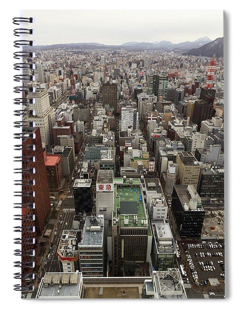 Hokkaido Spiral Notebook featuring the photograph Cityscape Of Sapporo, Hokkaido, Japan by Tetsuya Aoki