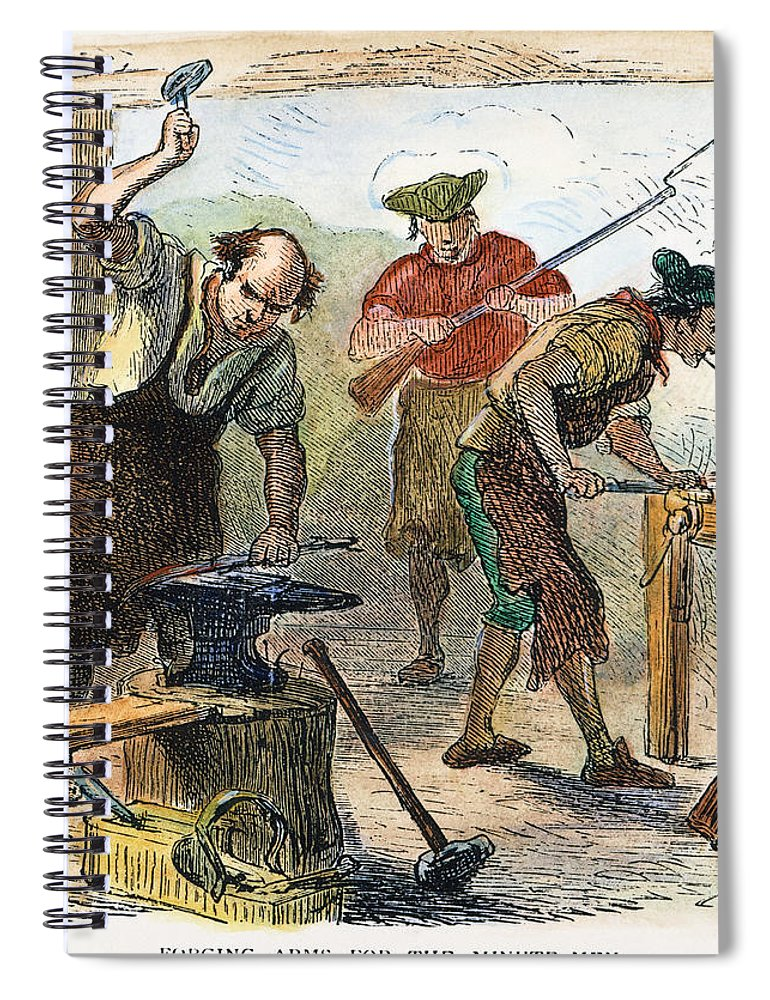 1770s Spiral Notebook featuring the photograph Colonial Blacksmith, 1776 by Granger