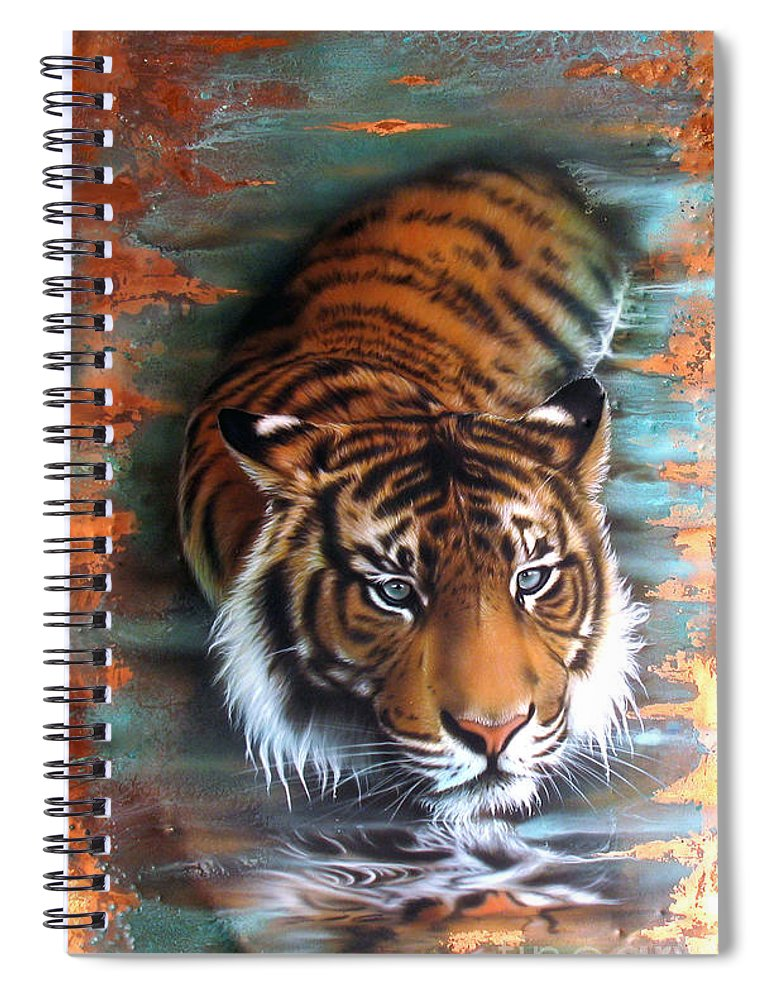 Copper Spiral Notebook featuring the painting Copper Tiger II by Sandi Baker