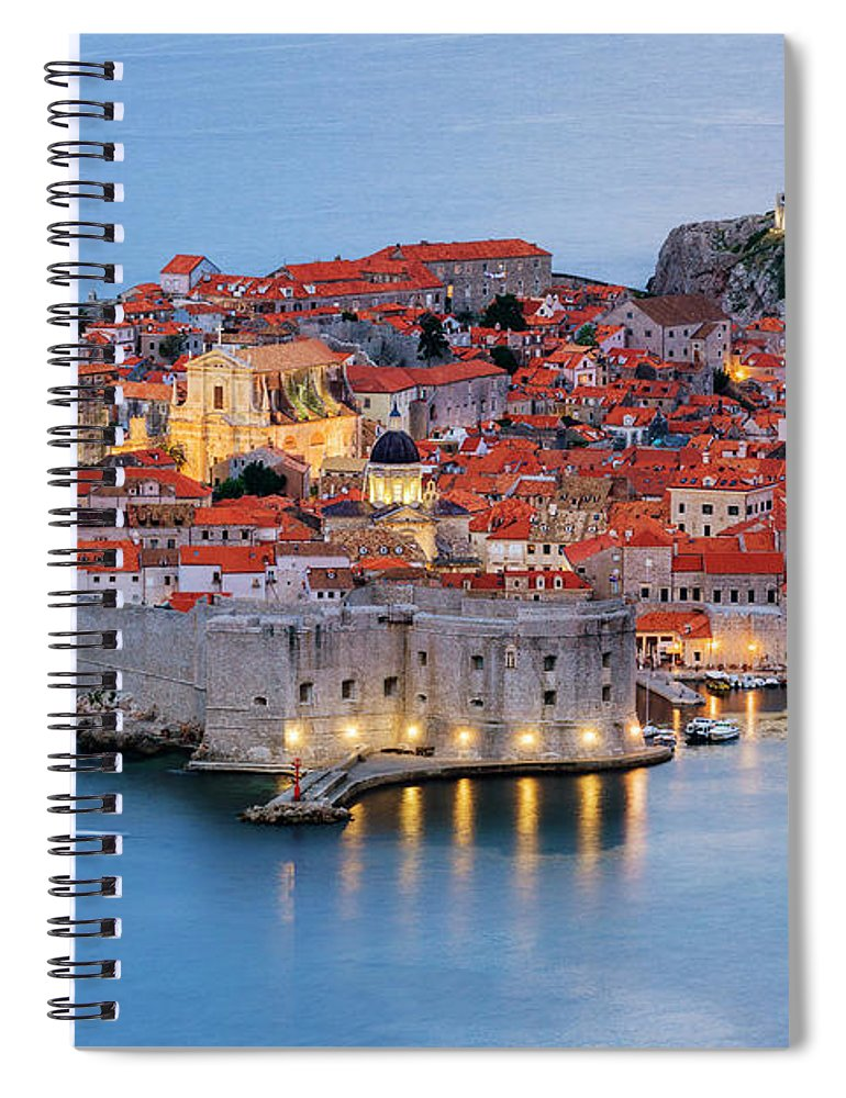 Scenics Spiral Notebook featuring the photograph Dubrovnik City Skyline At Dawn by Pixelchrome Inc