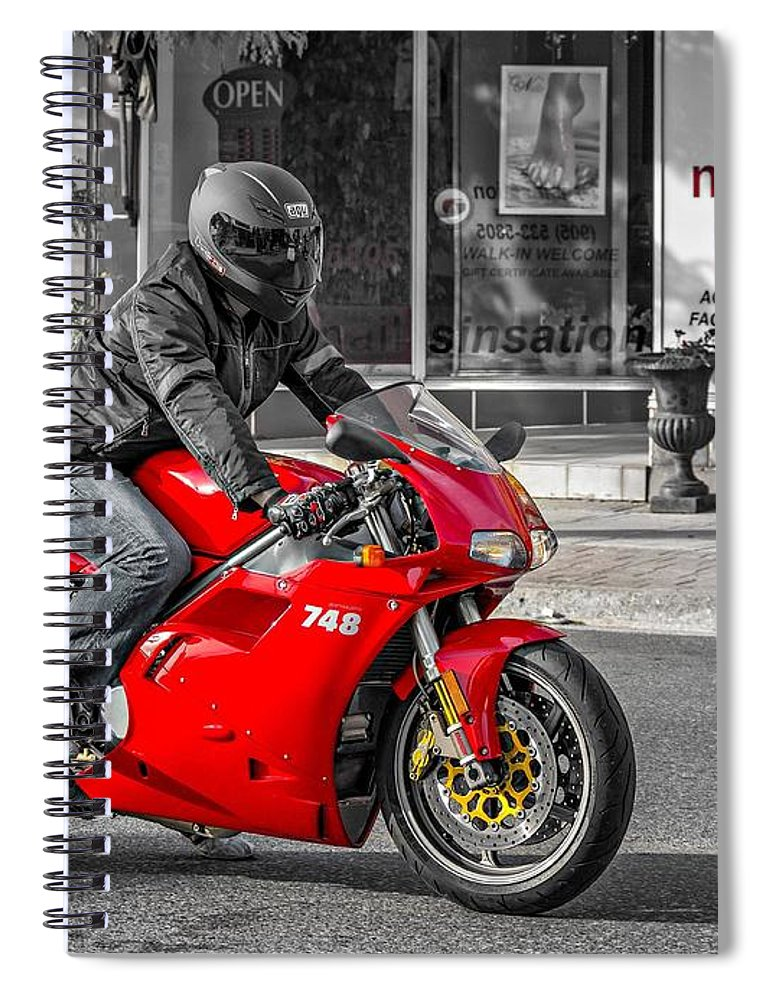 Bolton Spiral Notebook featuring the photograph Ducati 748 by Steve Harrington