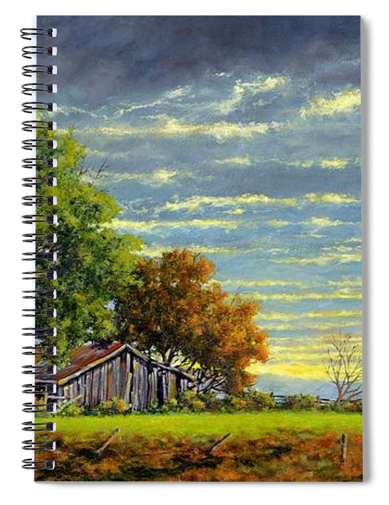Landscape Spiral Notebook featuring the painting Dusk by Jim Gola