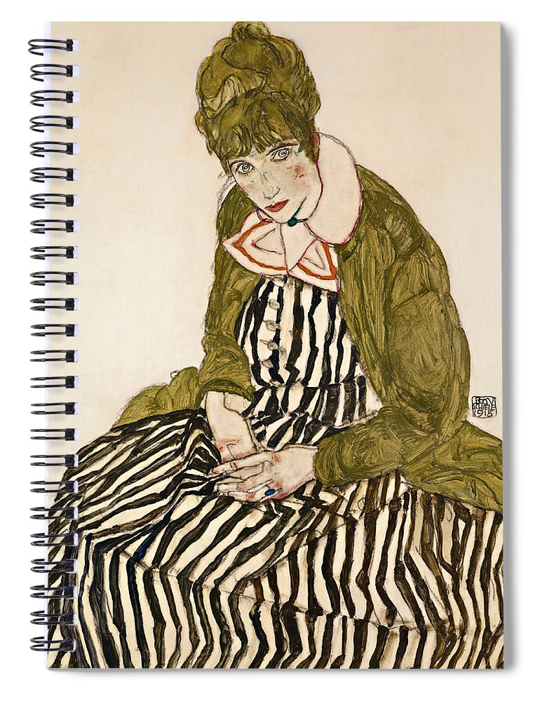 Egon Schiele Spiral Notebook featuring the drawing Edith With Striped Dress Sitting by Egon Schiele