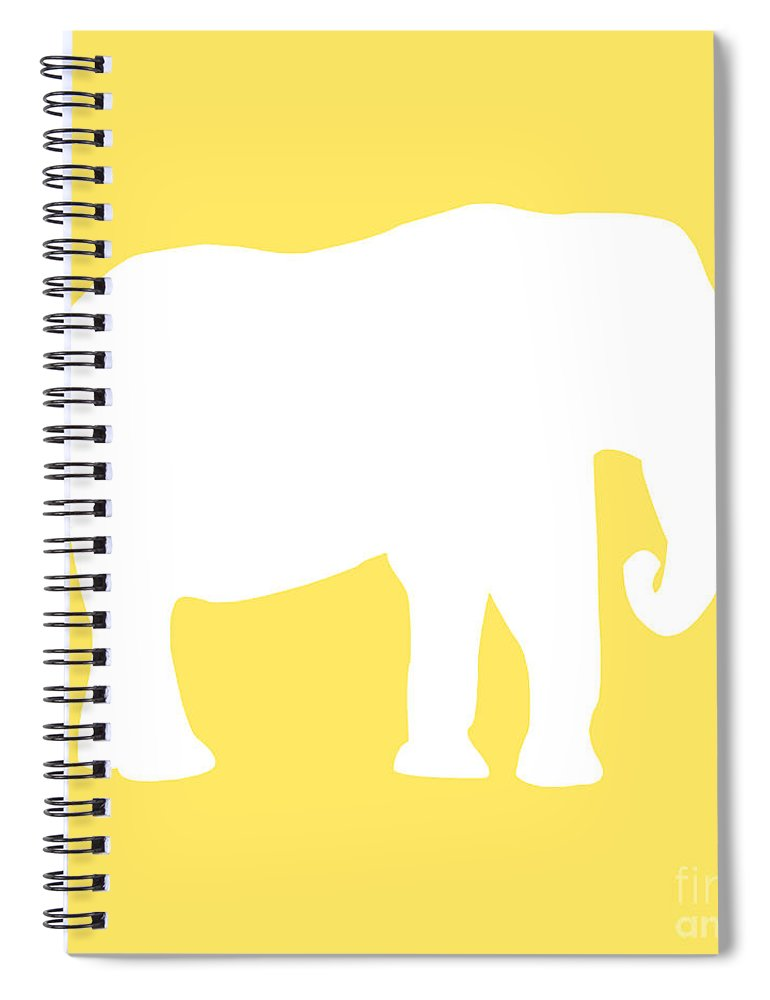 Graphic Art Spiral Notebook featuring the digital art Elephant In Yellow And White by Jackie Farnsworth