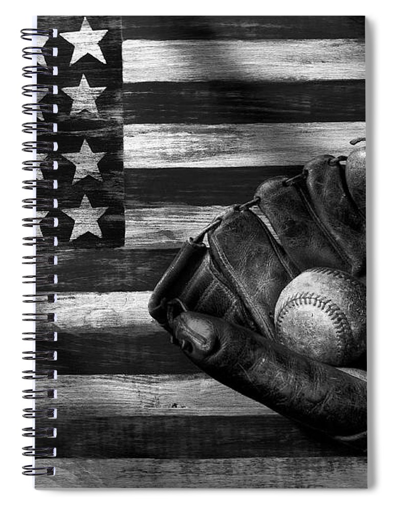 Folk Art American Flag Spiral Notebook featuring the photograph Folk Art American Flag And Baseball Mitt Black And White by Garry Gay
