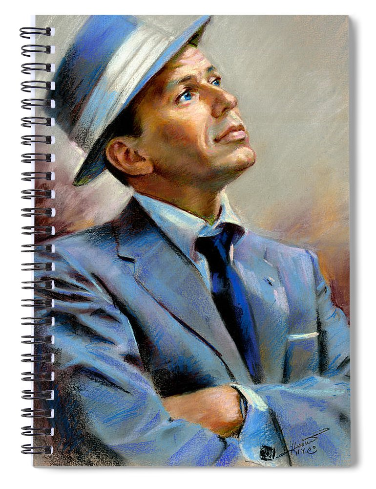 Francis frank Sinatra Spiral Notebook featuring the pastel Frank Sinatra by Ylli Haruni