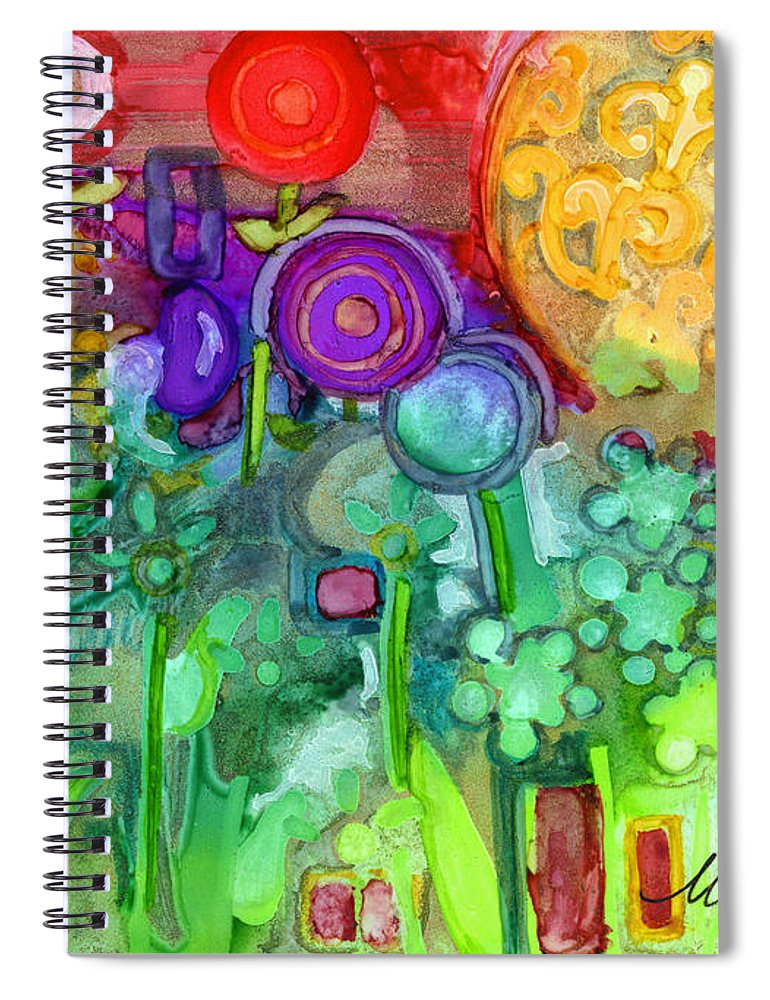 Abstract Floral Spiral Notebook featuring the painting Garden Sunset by Vicki Baun Barry