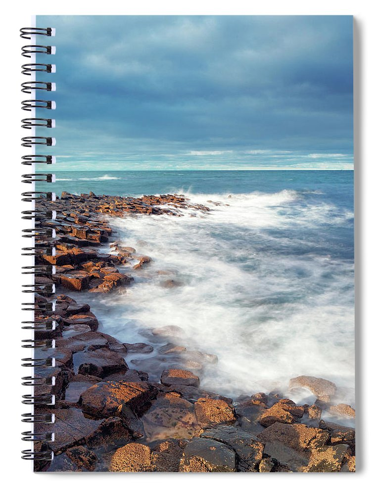 Water's Edge Spiral Notebook featuring the photograph Giants Causeway On A Cloudy Day by Mammuth