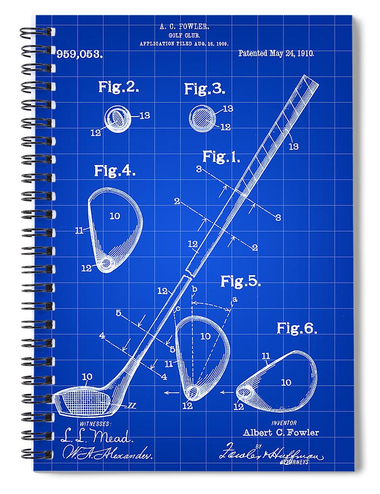 Golf Spiral Notebook featuring the digital art Golf Club Patent 1909 - Blue by Stephen Younts