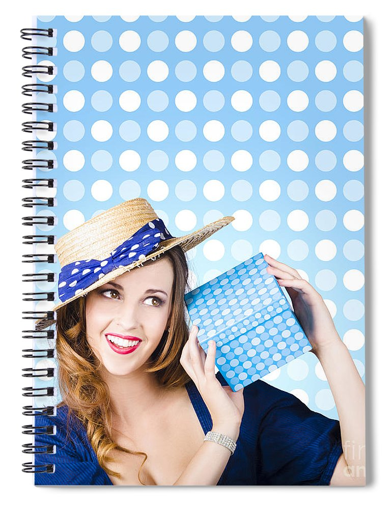 Present Spiral Notebook featuring the photograph Happy Birthday Girl Holding Present by Jorgo Photography - Wall Art Gallery