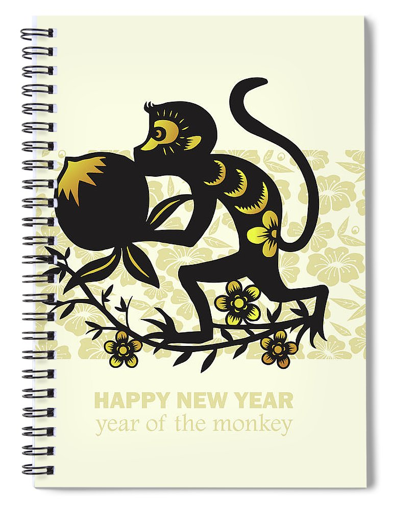 Chinese Culture Spiral Notebook featuring the digital art Happy New Year, Year Of The Monkey 2016 by Ly86