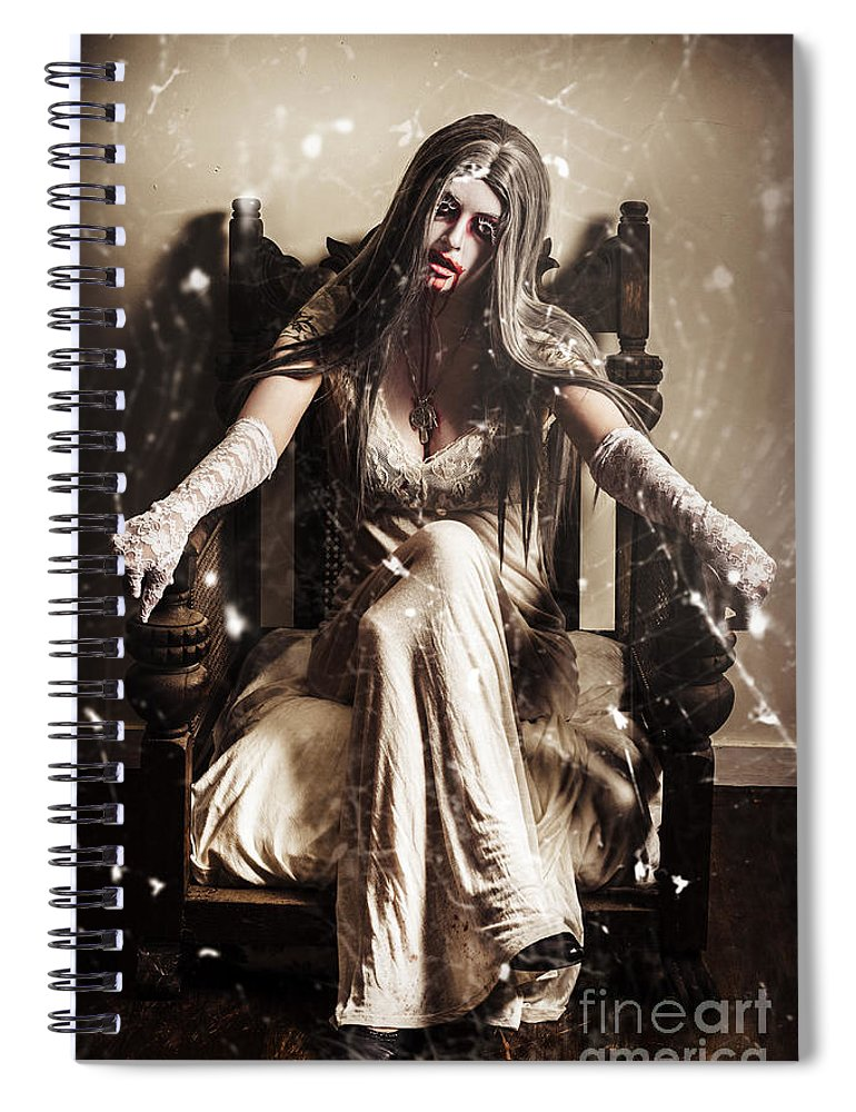 Evil Spiral Notebook featuring the photograph Haunting Horror Scene With A Strange Vampire Girl by Jorgo Photography - Wall Art Gallery