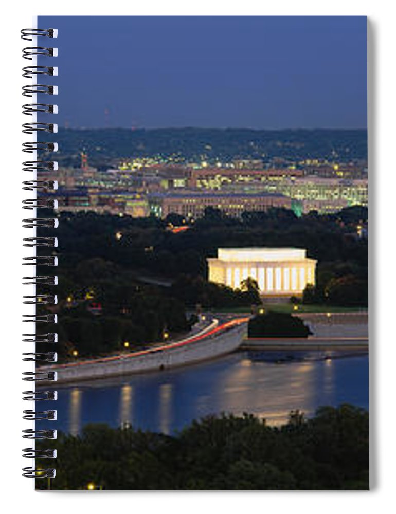 Photography Spiral Notebook featuring the photograph High Angle View Of A City, Washington by Panoramic Images