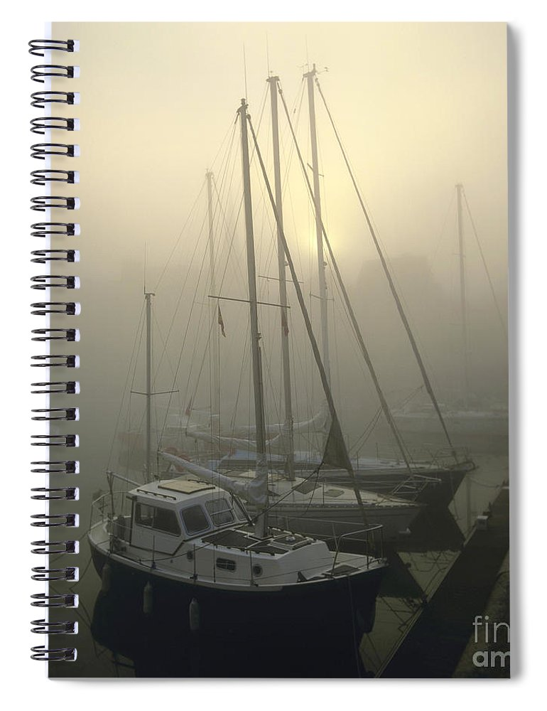 Ambiance Ambient Atmosphere Atmospheric Boat Boats Calvados Day Daylight Daytime During Europe European Exterior Exteriors Filled Fog Foggy France French Full Harbor Harbour Harbour Haze Hazy Honfleur In Mist Mists Misty Mood Mood-filled Moods Nobody Normandy Of Outdoor Photo Photos Port Ports Shot Shots The Spiral Notebook featuring the photograph Honfleur Harbour In Fog. Calvados. Normandy. France. Europe by Bernard Jaubert