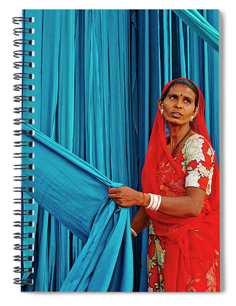 People Spiral Notebook featuring the photograph India, Rajasthan, Sari Factory by Tuul & Bruno Morandi