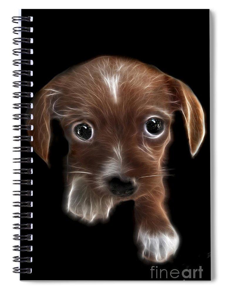 Puppy Spiral Notebook featuring the digital art Innocent Loving Eyes by Peter Piatt