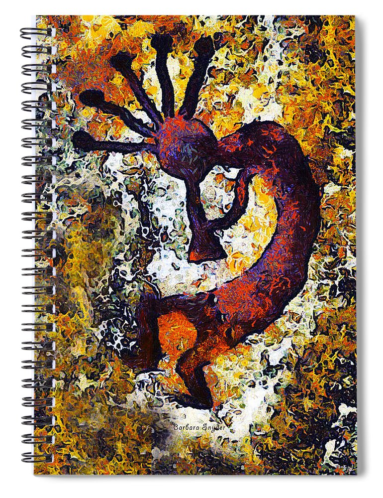 Kokopelli The Flute Player Spiral Notebook featuring the digital art Kokopelli The Flute Player by Barbara Snyder