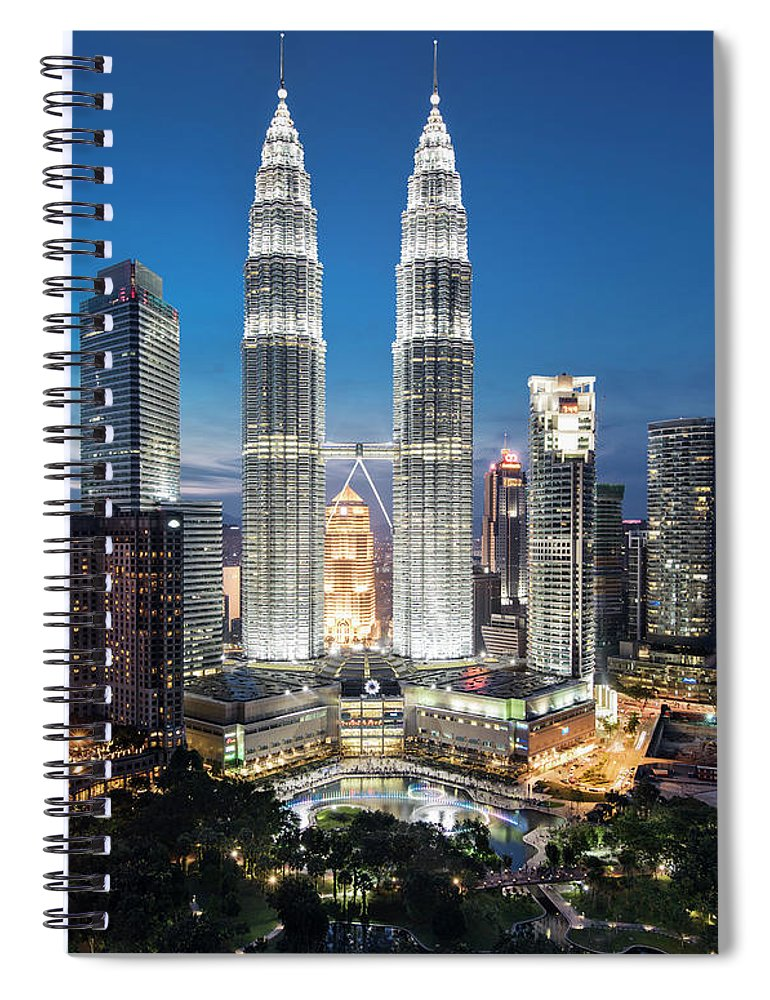 Downtown District Spiral Notebook featuring the photograph Malaysia, Kuala Lumpur, Petronas Towers by Martin Puddy