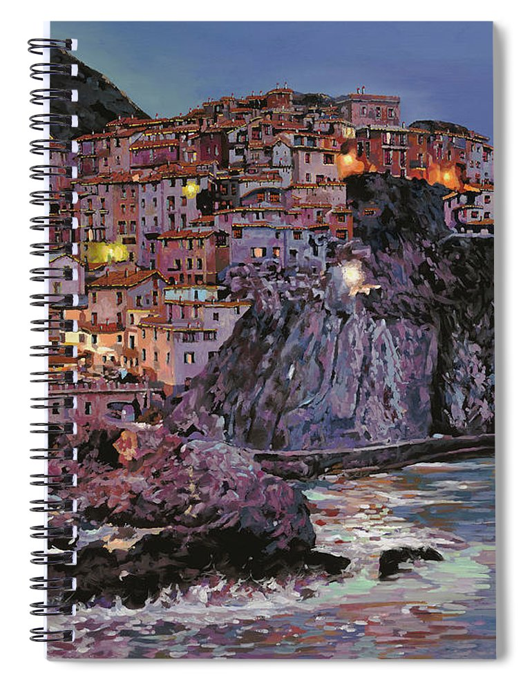Manarola Spiral Notebook featuring the painting Manarola al crepuscolo by Guido Borelli