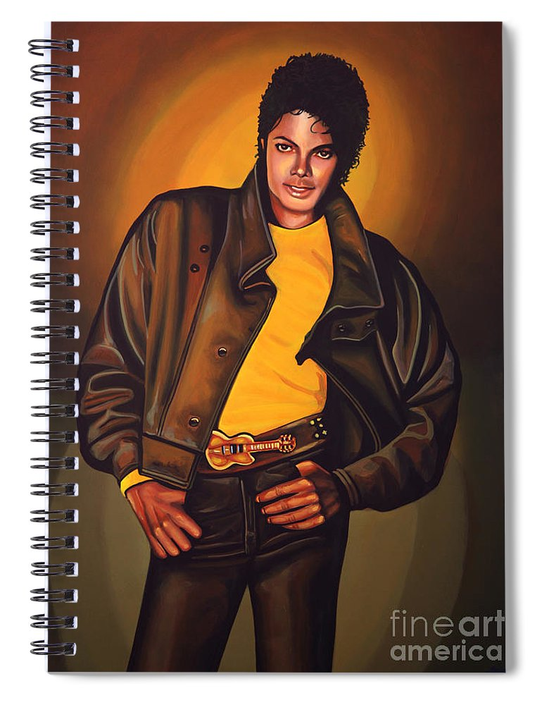 Michael Jackson Spiral Notebook featuring the painting Michael Jackson by Paul Meijering