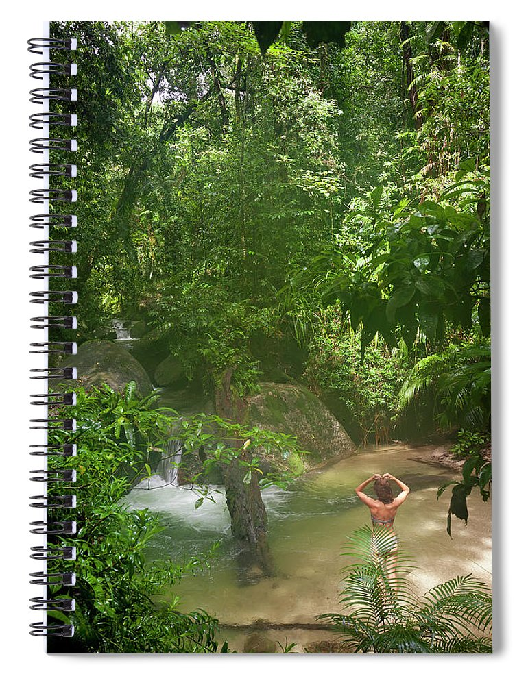 Scenics Spiral Notebook featuring the photograph Mossman Gorge Daintree National Park by Peter Adams