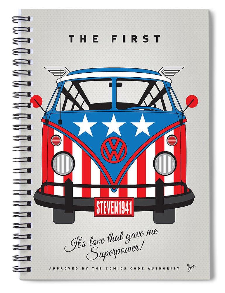 Superheroes Spiral Notebook featuring the digital art My Superhero-vw-t1-captain America by Chungkong Art