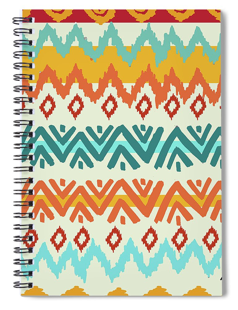 Navajo Spiral Notebook featuring the digital art Navajo Mission Round by Nicholas Biscardi