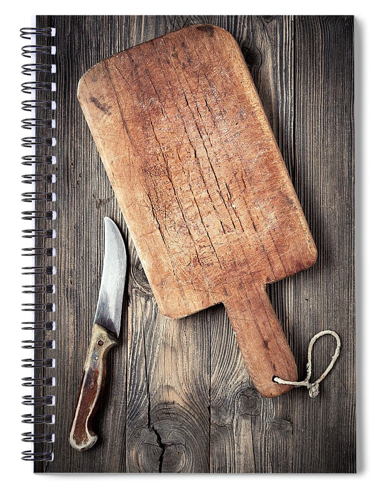 Empty Spiral Notebook featuring the photograph Old Cutting Board And Knife by Barcin