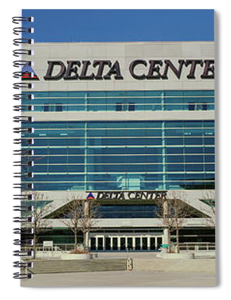 Photography Spiral Notebook featuring the photograph Panoramic Of Delta Center Building by Panoramic Images