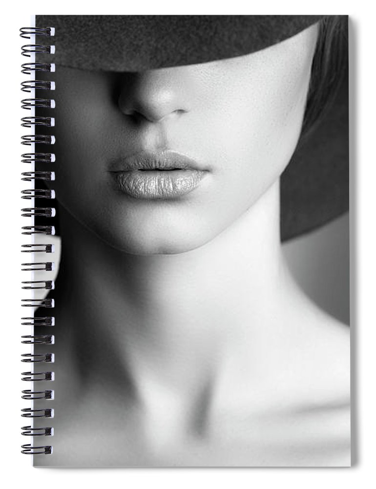 People Spiral Notebook featuring the photograph Photo Of Beautiful Woman In Retro Style by Coffeeandmilk