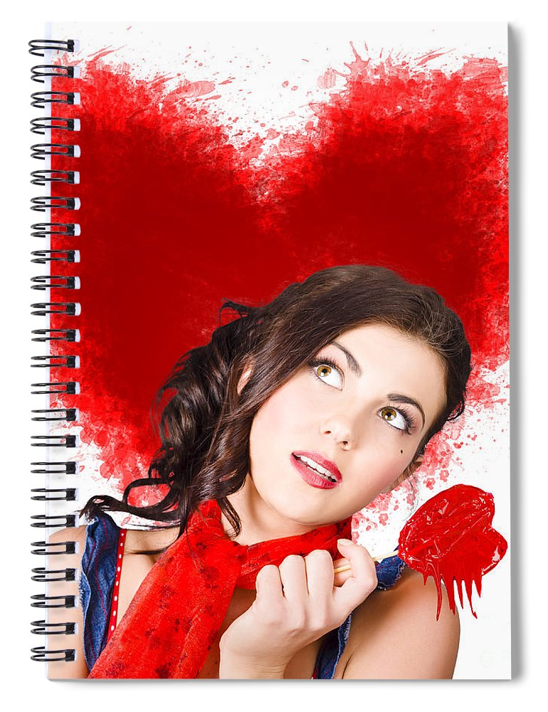 Woman Spiral Notebook featuring the photograph Photo Of Romantic Woman Holding Heart Shape Candy by Jorgo Photography - Wall Art Gallery