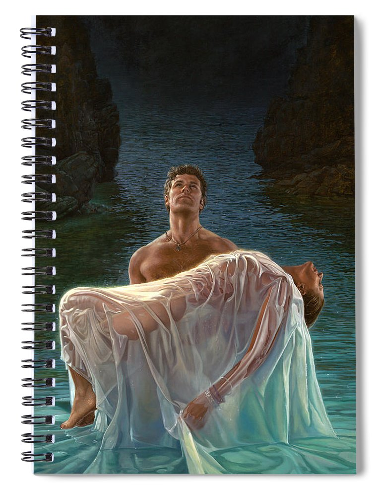 Blue Spiral Notebook featuring the painting Resurrection by Mia Tavonatti