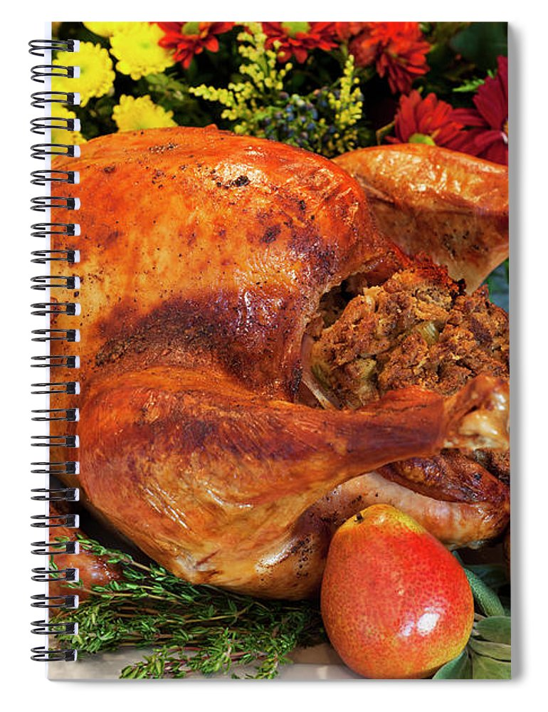 Stuffed Spiral Notebook featuring the photograph Roast Turkey by Tetra Images