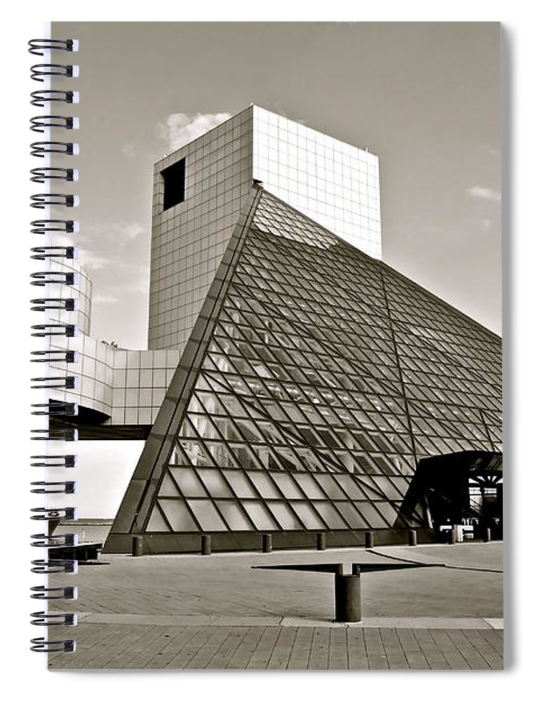 Cleveland Spiral Notebook featuring the photograph Rock Hall of Fame by Frozen in Time Fine Art Photography