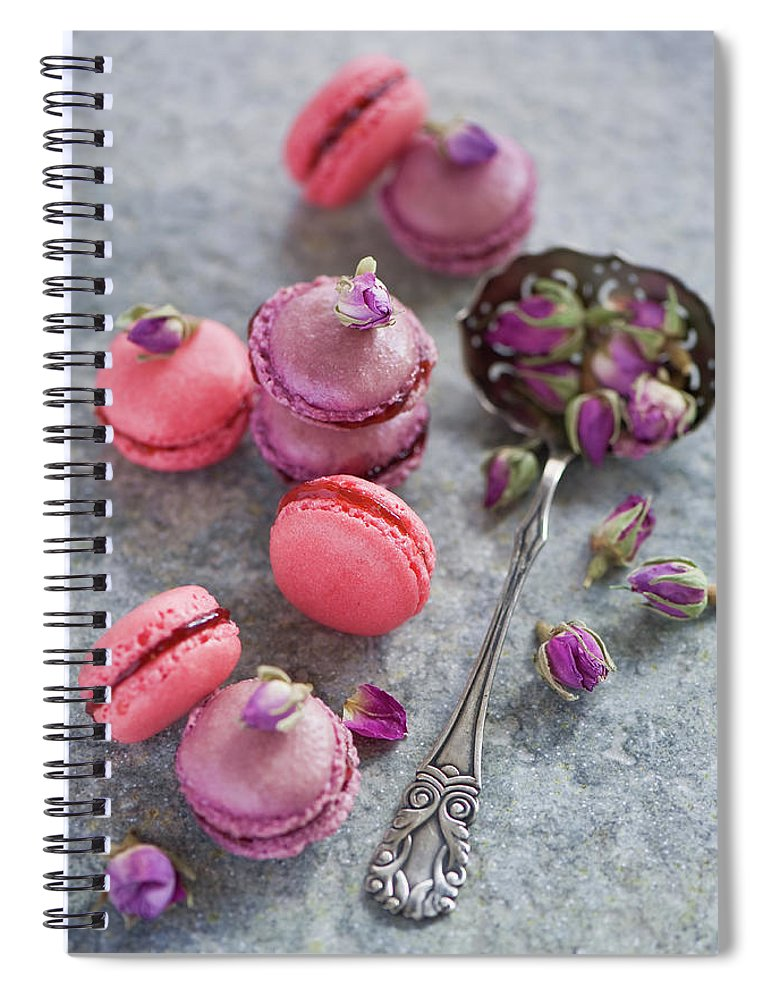 Stuffed Spiral Notebook featuring the photograph Rose Macarons by Verdina Anna