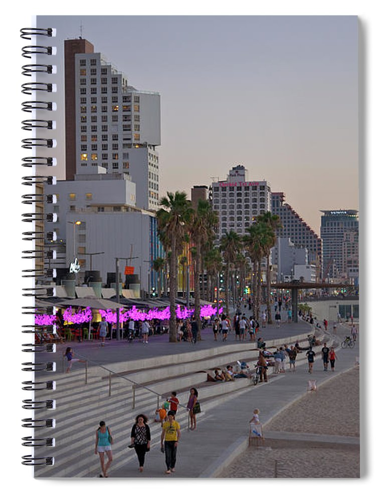 People Spiral Notebook featuring the photograph Seaside Promenade Of Tel Aviv At Dusk by Barry Winiker