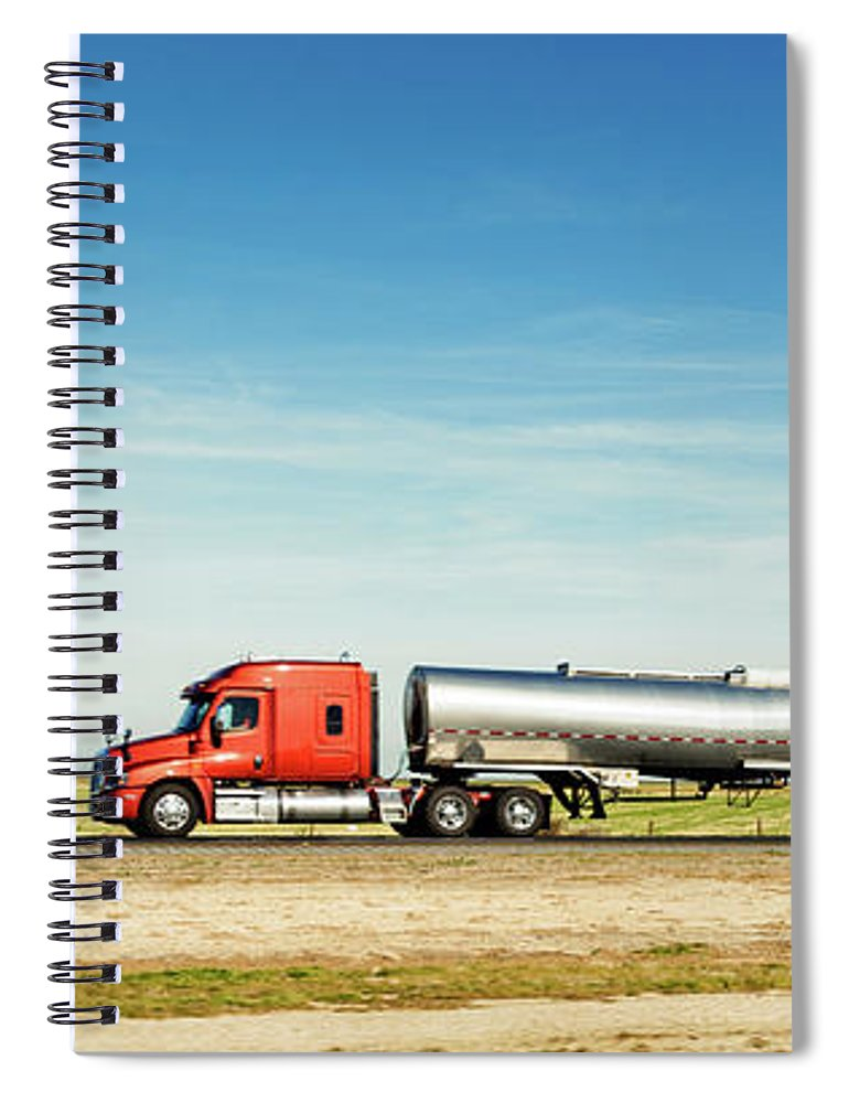 Photography Spiral Notebook featuring the photograph Semi Truck Moving On The Highway by Panoramic Images
