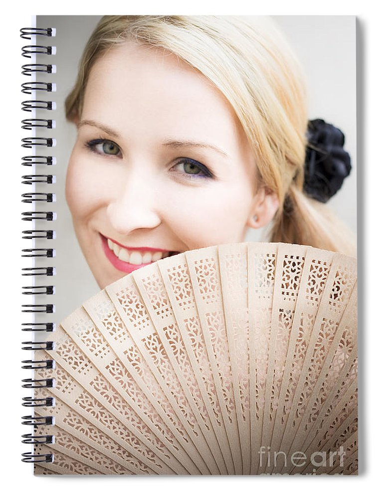 Accessory Spiral Notebook featuring the photograph Smiling Summer Fan Woman by Jorgo Photography - Wall Art Gallery