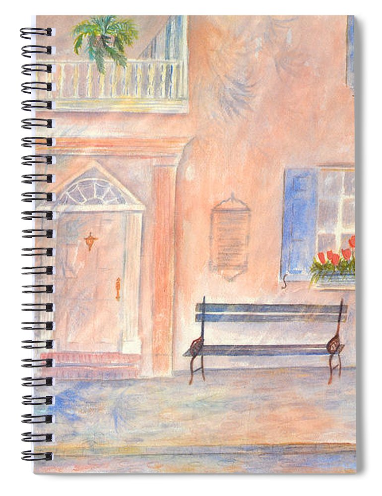 Charleston Spiral Notebook featuring the painting Sunday Morning in Charleston by Ben Kiger