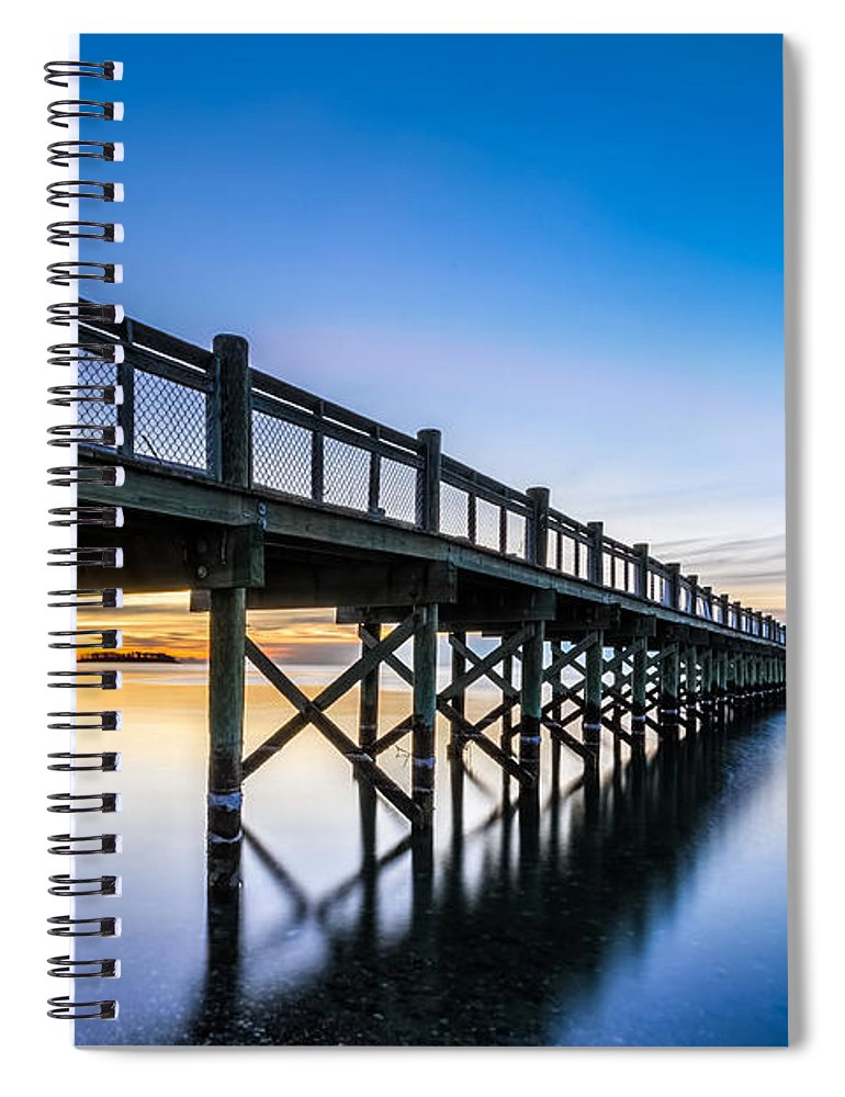 Connecticut Spiral Notebook featuring the photograph Sunrise Under The Boardwalk by Randy Scherkenbach