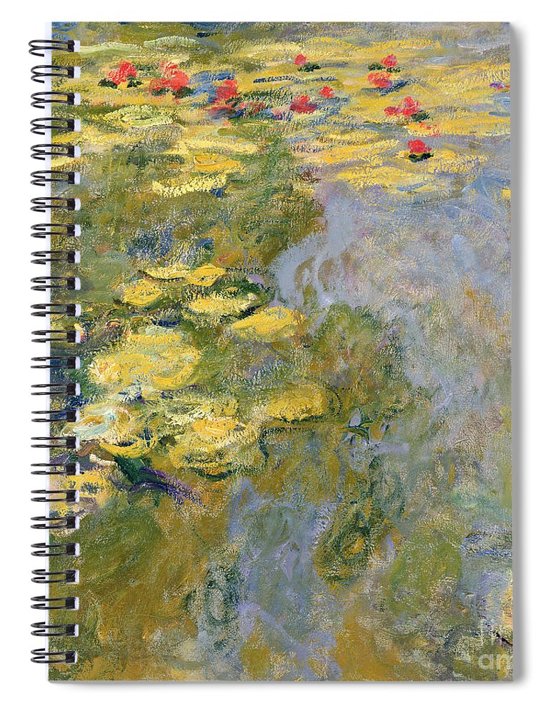 Impressionist Spiral Notebook featuring the painting The Waterlily Pond by Claude Monet