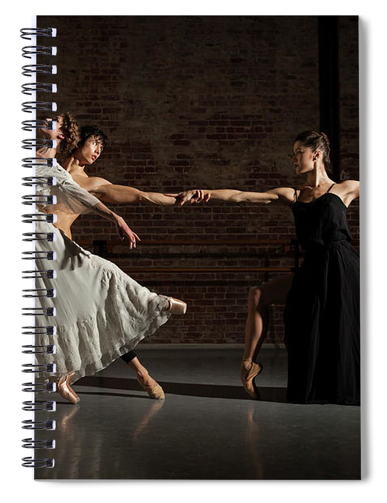 Young Men Spiral Notebook featuring the photograph Three Ballet Dancers Performing Together by Nisian Hughes